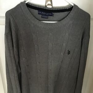 U.S. POLO ASSN. MEN'S GRAY CABLE KNIT SWEATER